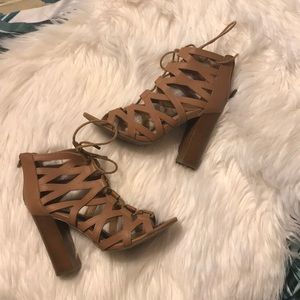 Lace Up Bamboo Heels